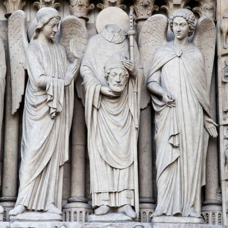 Detail of gothic Cathedral of Notre Dame in Paris photo