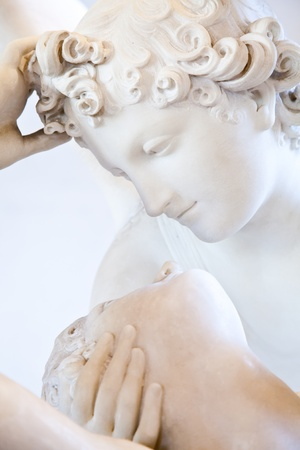 psyche: Antonio Canovas statue Psyche Revived by Cupids Kiss, first commissioned in 1787, exemplifies the Neoclassical devotion to love and emotion Editorial