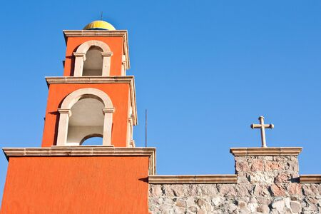 Detail of a Mexican church, brilliant colours photo