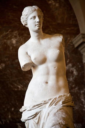 greek statue: Statue of the Greek goddess Aphrodite, discovered on the island of Melos (Milo, in modern Greek), Louvre Museum, Paris