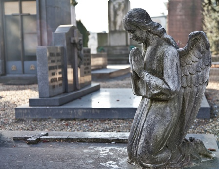 Italian monumental cemetery: collection of two hundreds years old statues