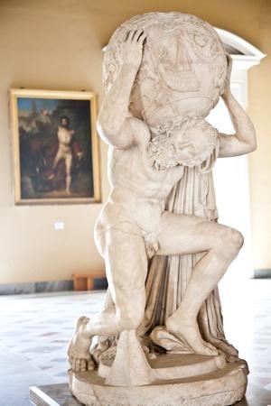 アトランテ ファルネーゼ像の 2dn 世紀の広告のコピー 報道画像