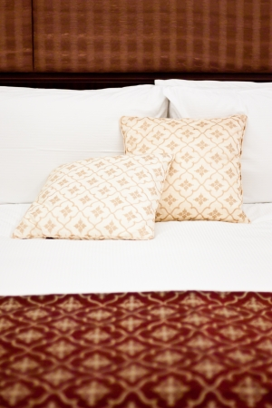 Concept for luxury and Honeymoon, pillows in a luxury hotel Stock Photo - 14572661