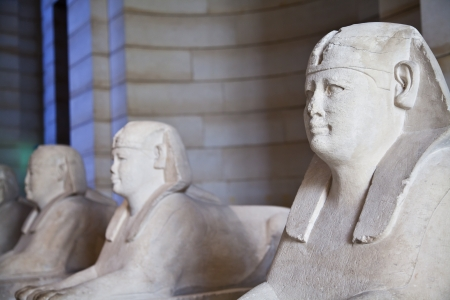 Egyptian sphinxes: three statues in a row, useful fo museum concepts photo