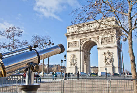 The Arc de Triomphe (Arc de Triomphe de ltoile) is one of the most famous monuments in Paris. It stands in the centre of the Place Charles de Gaulle, at the western end of the Champs Stock Photo