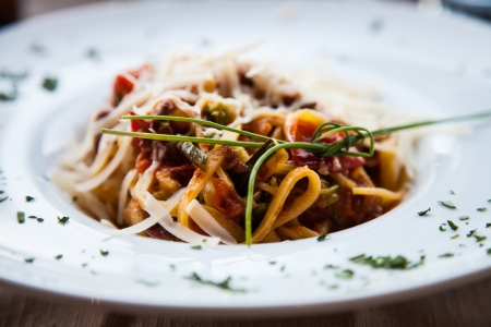 Italy, the best Florence restaurant. Example of Fettuccine Pasta served at the table, no studio photo Stock Photo - 14655323