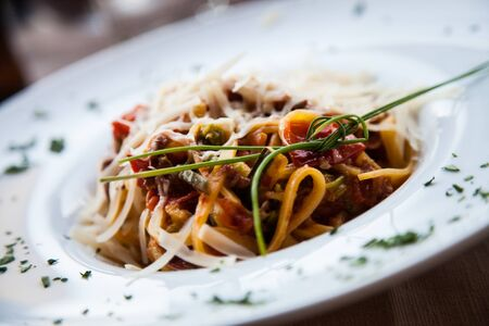 Italy, the best Florence restaurant. Example of Fettuccine Pasta served at the table, no studio photo Stock Photo - 14764911