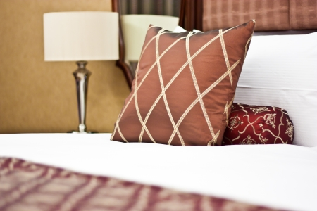 Concept for luxury and Honeymoon, pillows in a luxury hotel Stock Photo - 14765600