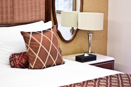 Concept for luxury and Honeymoon, pillows in a luxury hotel Stock Photo - 15375876