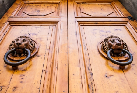 door knob: Lion head knocker on an old wooden door in Tuscany - Italy