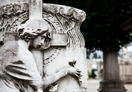 Collection of the most beautiful and moving architectures examples in European cemeteries Stock Photo