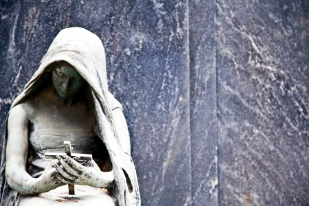 angel headstone: Collection of the most beautiful and moving architectures examples in European cemetaries Stock Photo