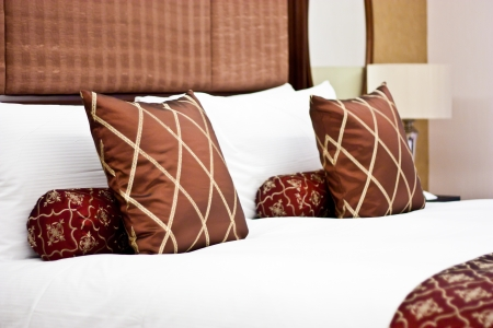 Concept for luxury and Honeymoon, pillows in a luxury hotel Stock Photo - 16541097