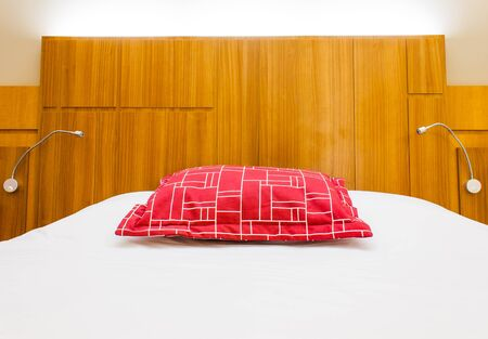 A design red pillow in a modern style bedroom Stock Photo - 16829288