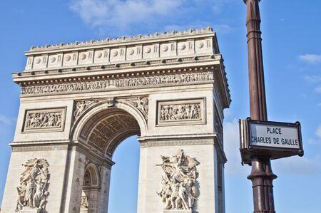 gaulle: The Arc de Triomphe (Arc de Triomphe de lÉtoile) is one of the most famous monuments in Paris. It stands in the centre of the Place Charles de Gaulle, at the western end of the Champs-Élysées