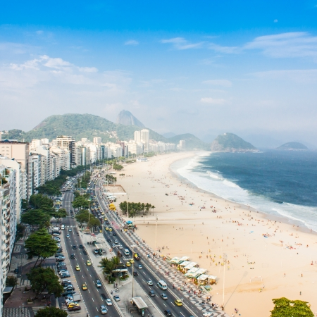 Brazil, Rio de Janeiro. The famous beach of Copacabana