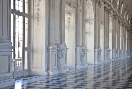 monument historical monument: View of Galleria di Diana in Venaria Royal Palace, close to Torino, Piemonte region