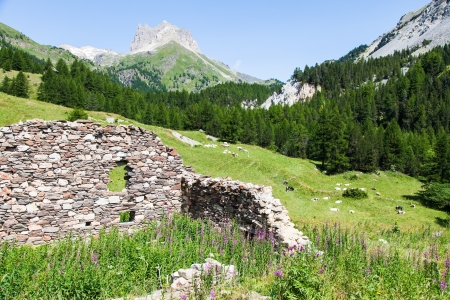 bardonecchia: Close to Bardonecchia, Piemonte Region, Italy. A mountain panorama during a sunny day in summer season.