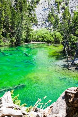 bardonecchia: Bardonecchia, Italy. The Green Lake, Alpine lake with fluo color due to a local seaweed