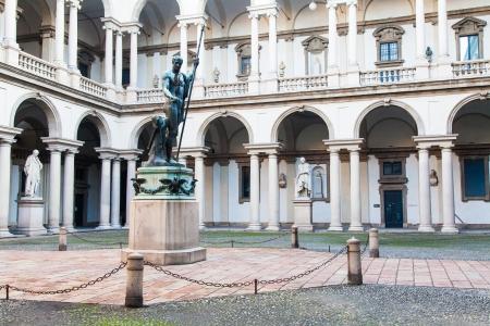 Milan, Italy. Entrance of the famous Brera University of Arts