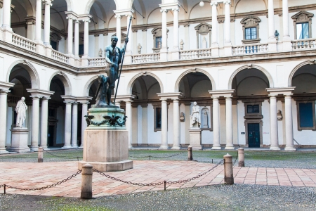 Milan, Italy. Entrance of the famous Brera University of Arts