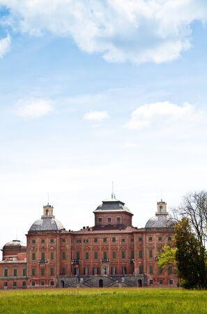 racconigi: Italy - Racconigi Royal Palace. The green garden of the Palace during spring season
