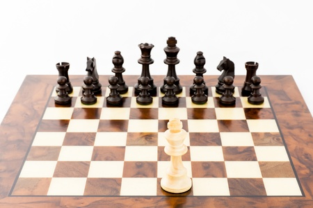 Concept for challange with elegant Stauton style chess pieces photo