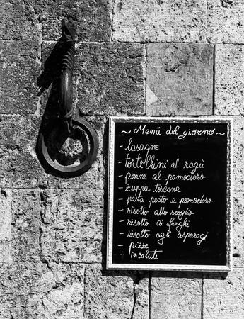 turistic: Tuscany, Italy. A turistic menu exposed on a blackboard outside a restaurant