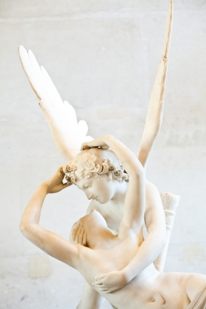 psyche: Antonio Canovas statue Psyche Revived by Cupids Kiss, first commissioned in 1787, exemplifies the Neoclassical devotion to love and emotion Stock Photo