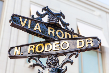 dr: Famous steetsigh of Rodeo Dr in Los Angeles, the Luxury block Stock Photo
