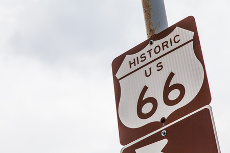 66: Famous streetsight of Route 66 with copyspace