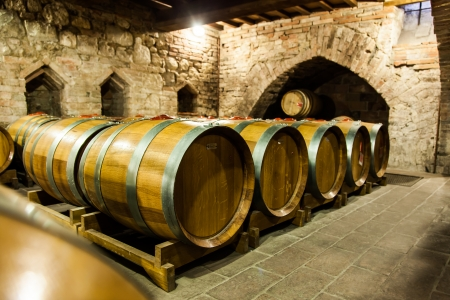 Italy, Tuscany, old canteen in Val d'Orcia area dedicated to wine production Standard-Bild