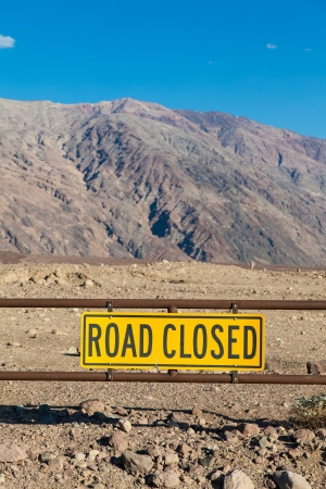 Death Valley, California. Road Closed sign in the middle of the desert. Stock Photo - 24322340