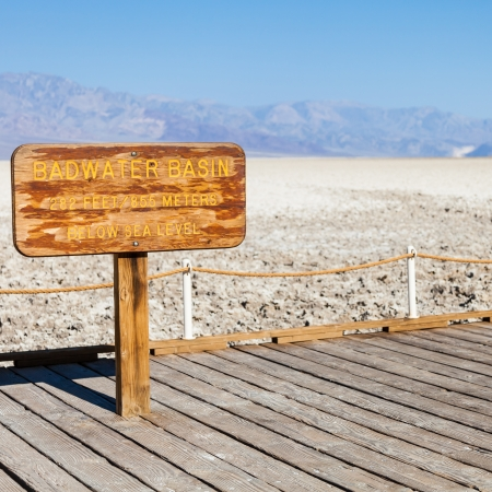 USA, Death Valley. Badwater point: salt road in the middle of the desert photo