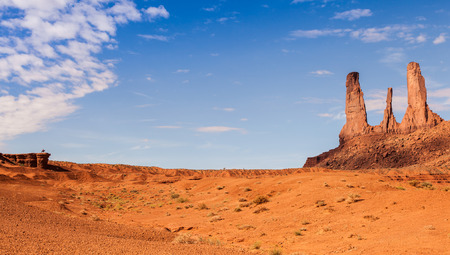 Complementary colours blue and orange in this iconic view of Monument Valley, USA photo