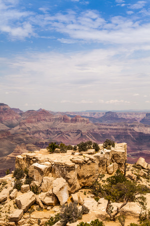 View of Grand Canyon from South Rim with sunset light