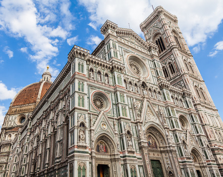 but: Florence, Italy. Detail of the Duomo during a  bright sunny day but without shadow on the facade  Stock Photo