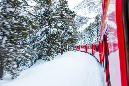 The famous Bernina red train photo