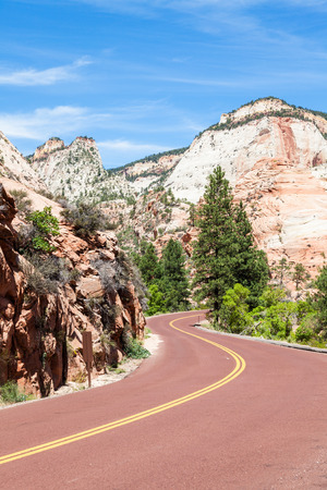 Zion National Park. A road in the middle of the nature photo