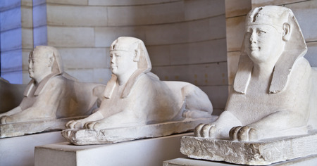 Egyptian sphinxes: three statues in a row, useful fo museum concepts