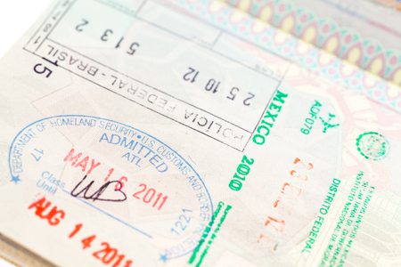 Detail of passport page with international entry visa