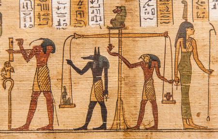 死者 (1070 年紀元前)、テーベのエジプトの古代の本の詳細 報道画像