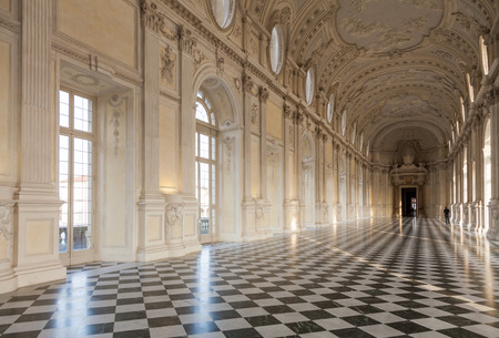 reale: Detail of Galleria di Diana in Venaria, Italy. Luxury royal palace interior Editorial