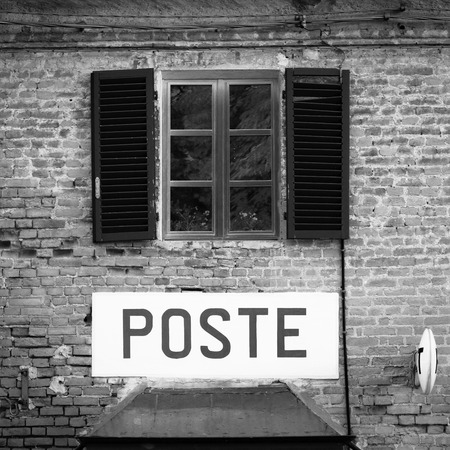 postal office: Tuscany, Italian postal office sign on old wall.