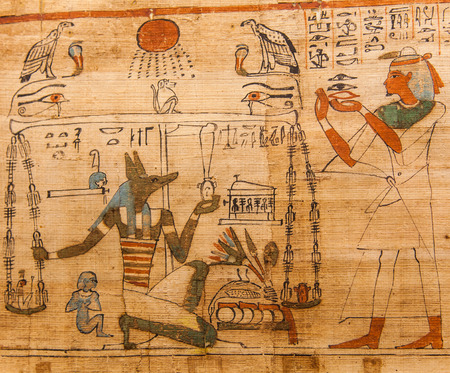 Detail of ancient Book of the Dead (1070 BC), Thebes - Egypt 스톡 콘텐츠