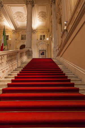 Elegant entrance in an old Italian palace.