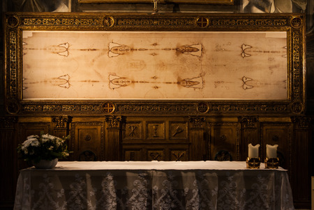 Detail of a copy of the Holy Shroud of Turin, Italy