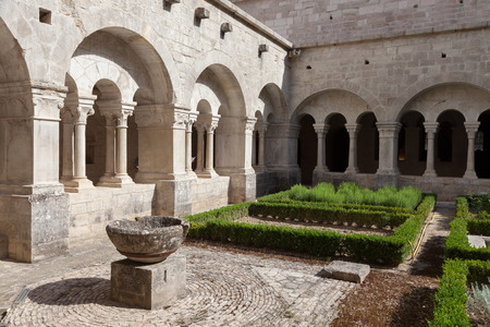 senanque: France, Provence. Senanque Abbey garden detail. More than 800 years of history in this picture.