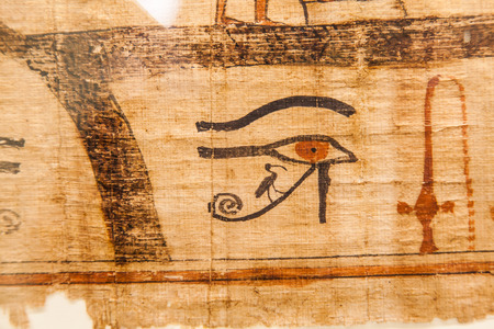 thebes: Detail of ancient Book of the Dead (1070 BC), Thebes - Egypt Stock Photo