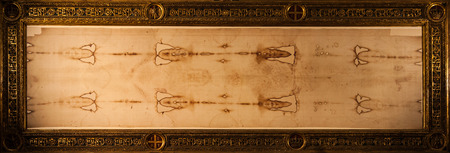 Detail of a copy of the Holy Shroud of Turin, Italy Imagens - 31794476